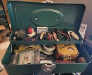 Vintage Fishing Tackle Box W/ Antique Lures, Reel, And More, Some Still In Boxes
