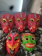 Vintage Vacuform Plastic Devil Halloween Masks - 1960and039s And 1970and039s