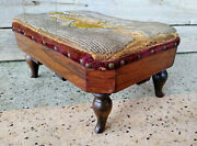 Antique Victorian Wood Foot Stool W/ Glass Beaded Floral Needlepoint Top