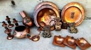 Aztec Mayan Hammered Copper Mexico 20 Lot Assorted Art Bowl Plates Candelabra