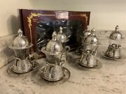 Set Of 6 Silver Zinc Traditional Turkish Tea Cups Glasses With Saucers And Lids