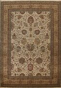 Vegetable Dye Floral Agra Oriental Area Rug Hand-knotted Ivory Wool 9x12 Carpet