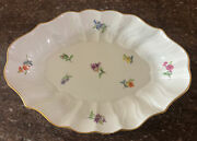 Stunning Meissen Porcelain Scalloped Platter Hand Painted Colorful Flowers 1900s