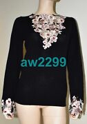 05a 4,020 New 100 Cashmere Floral Embroidered Jeweled Sweater 40 38