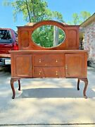 Vintage Sideboard/ Buffet Dining Room Cabinet Oval Mirror 2 Drawer /2 Cabinets