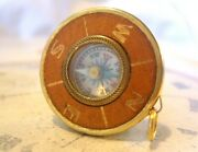 Vintage Pocket Watch Chain Compass Fob 1950 Tan Leather And Gilt Drum Case Fob Fwo