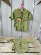 2 1960's Boy Scout Shirts With Camporee Patch Durham Nc B8627