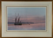 Anthony Osler - Signed Mid 20th Century Watercolour Sunset And Barges