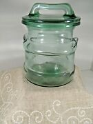 Vintage L. E. Smith Green Glass Milk Can Cannister