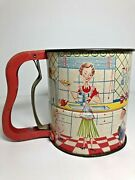 Vintage 1950's Androck 3 Screen Flour Sifter/mom, Son And Daughter/hand I Sift