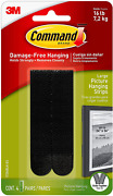 Large Picture Hanging Strips Heavy Duty Black Holds Up To 16 Lbs 4-pairs