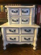 Vintage Musical 4 Drawer Jewelry Box White With Blue Pulls Made In Japan Nice