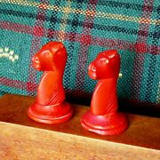 Antique Bone Chess Pieces Early 1900s Set Of 2 Red Knights Spares. Vg Cond.