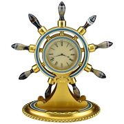 Ships Wheel Clock With Carved Agate And Bronze And Enamel Alexander And Company