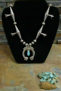 Old Navajo Sterling Rainbow Man Kachina Squash Blossom Necklace Native Old Pawn