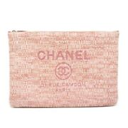 Deauville Clutch Bag Pink Tweed A4 Size Correspondence Pawn No.1853