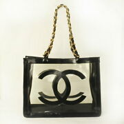 Used Used Decacoco Mark Vinyl Chain Shoulder Tote Bag Rcp No.193