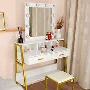Bedroom Vanity Makeup Dressing Table Set With 9 Led Light Mirror And 2 Drawers