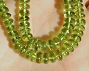 4-5mm Natural Peridot Gemstone Plain Rondelle Beads 2 Line Loose 13 Inch Strand