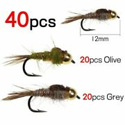 Fishing Wets 40pcs Classic Golden/brown Rib Ear Fly Trout Fly Caddis Snow Bugs