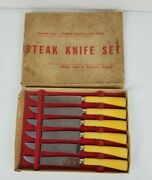 Vintage E Parker And Sons Steak Knives Sheffield England Stainless Blade 3709