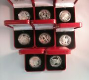 1992 Barcelona Olympics 1991 Silver Proof Gibraltar Crown Coins From Pobjoy +box