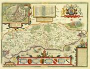 1676 Outstanding Original Antique Map - Sussex By John Speed Bassett And Chiswell