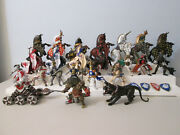 Papo Medieval Knights And Horses Figures Lot W/ Weapons + Alligator And Cerberus