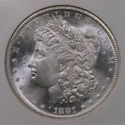1881-s Morgan 1 Ngc Certified Ms66 San Francisco Minted Silver Dollar Coin
