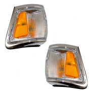 New Pair Set Park Clearance Lamp Chrome Trim Assembly For 92-95 Toyota 4runner