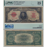 1923 Legal Tender 10 Fr123 Pmg Certified Very Fine 25 Red Seal