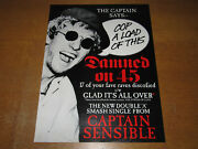 Captain Sensible - Glad It's All Over / Damned On 45 - 1984 Uk Promo Poster The