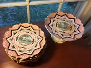 Rare Antique Victorian Aesthetic Scenic Porcelain 10 Plates And Cake Plate Set