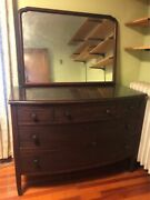 Antique Cherry Wood Dresser With Large Mirror