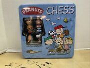 Complete Peanuts Chess Set Blue Tin. 32 Collectible Chess Pieces And Board