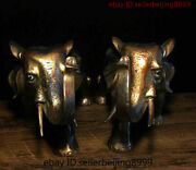 Collect Folk China Chinese Bronze Gilt Fengshui Robust Elephant Statue Pair 1011