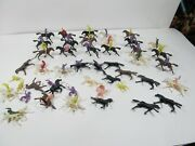 Lot Of Miniature Figures Cowboys And Indians With Horses Vintage Toys Caketopper