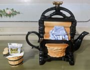 Paul Cardew Large Washing Mangle Teapot Signed Rare With Sugar Dish And Brochures
