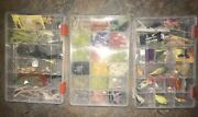 Preowned Lot Fishing Tackle Keter Box Rebel Hula Poppers Spinners 200+ Items