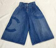 Denim Wide Pants S Size Gaucho Authentic Woman Jeans Used