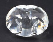 Steuben Crystal Love Object Hand Cooler Love Birds And Heart Clear Paperweight