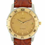 Omega Ss Wristwatch Leather Belt Constellation Gold Silver Brown Mens No.3118