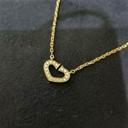 Pole Heart Diamond Necklace Guarantee Included From Japan No.5326