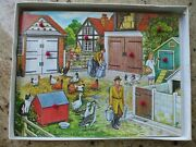Vintage Farm Animals Toy Wood Puzzle Victory England Lift Out Die Cut Shape Box