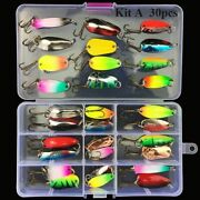 Fishing Lures 30pcs Colorful Wobblers Spoon Pike Bass Trout Kit Gear Artificial
