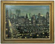 Antique Framed Mid Century Oil Painting Vintage Cityscape New York City B