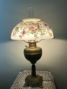 Vintage B And H Gone With The Wind Lamp W/hand Painted Glass Shade, 24 3/4 Tall