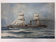 C1904 Antique Oil Painting Of Steam Ship Seascape Signed E