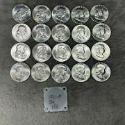 1961-p Uncirculated Silver Franklin Half Dollars Roll 10 Face Value 1pa