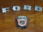 67-72 Ford F700 Coe Truck Front Lightning Emblem And F O R D Letters Hood Ornament